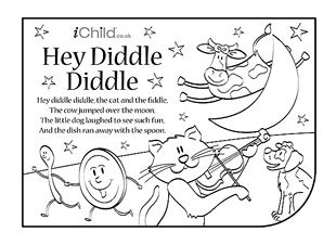 print this nursery rhyme activity sheet so your child can have fun colouring in the picture and singing along to hey diddle