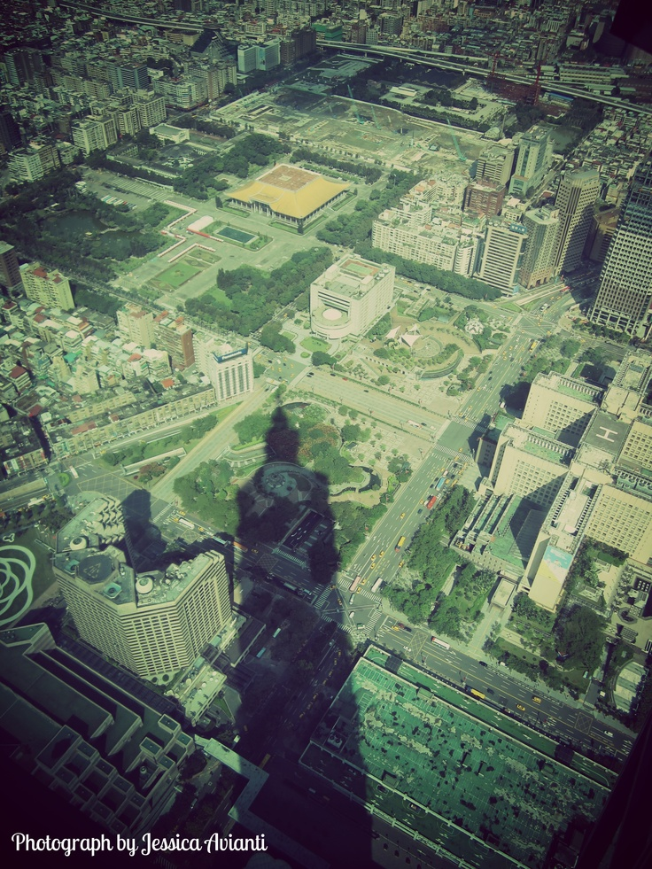 The shadow of Taipei 101 and city view from Taipei 101 observatory, Taiwan.