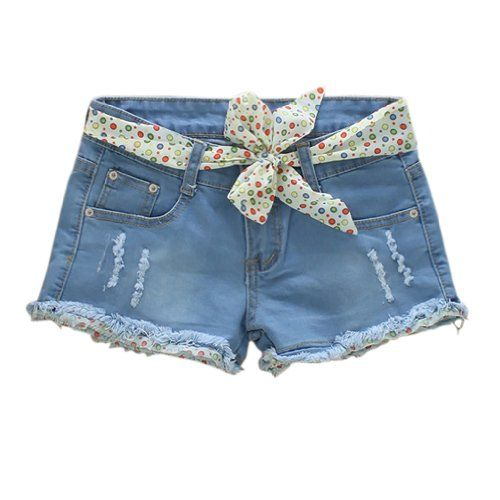 Womens Frayed Hem Denim Pants Shorts Jeans Lace Belt Asian Size 26 Light Blue
