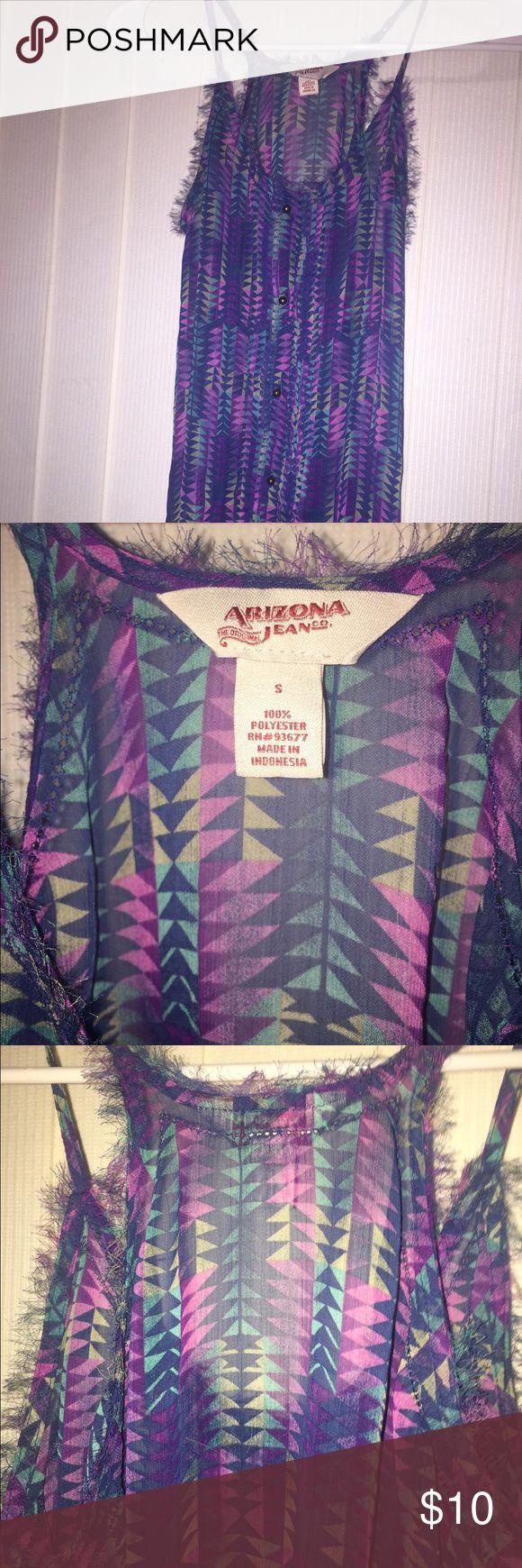 SM Sheer Arizona Tank SM, Sheer Aztec Print, Arizona tank top. Very cute with bralette or bandeau. Great for the hot summer 😉 Arizona Jean Company Tops Tank Tops