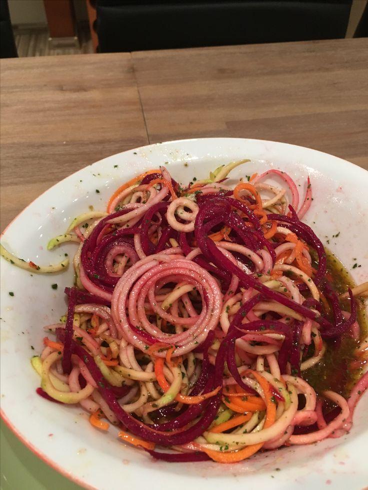 1 Zucchini  1 Karotte 1/2 Kohlrabi 1 rote Beete alles mit einem Gemüsenudelschneider zu Nudeln verarbeiten 4 Pck. Salatdressing (Paprikakräuter) nach Angabe zubereiten.  FERTIG. Einfacher gehts nicht.