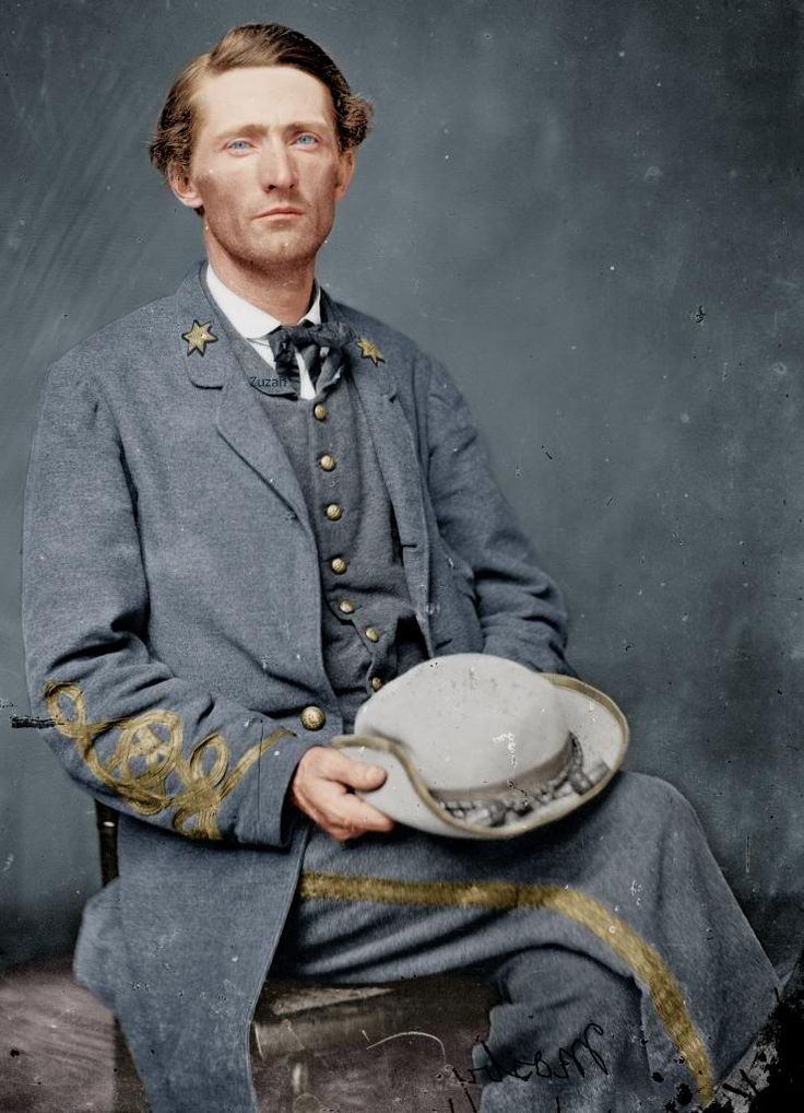"""Colorized"" photo of Major John S, Mosby, commander, 43rd Battalion, Virginia Partisan Rangers, CSA"