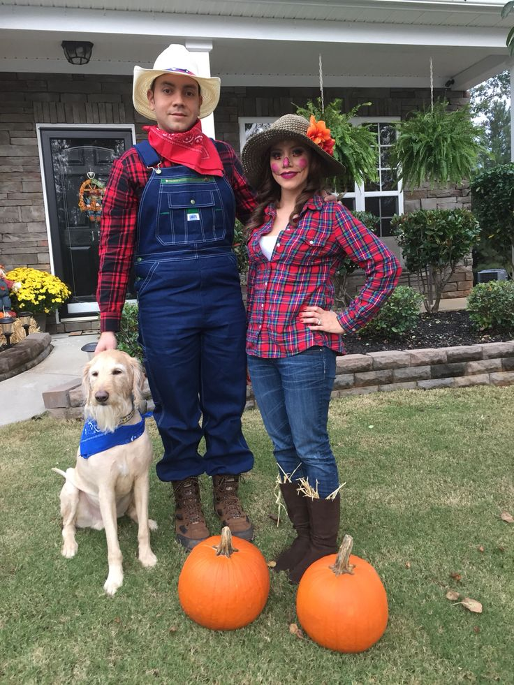 Farmer and scarecrow costume for Halloween!!