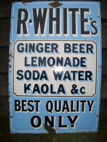 Original Antique Vintage Enamel Sign for R Whites Lemonade Ginger Beer etc | eBay