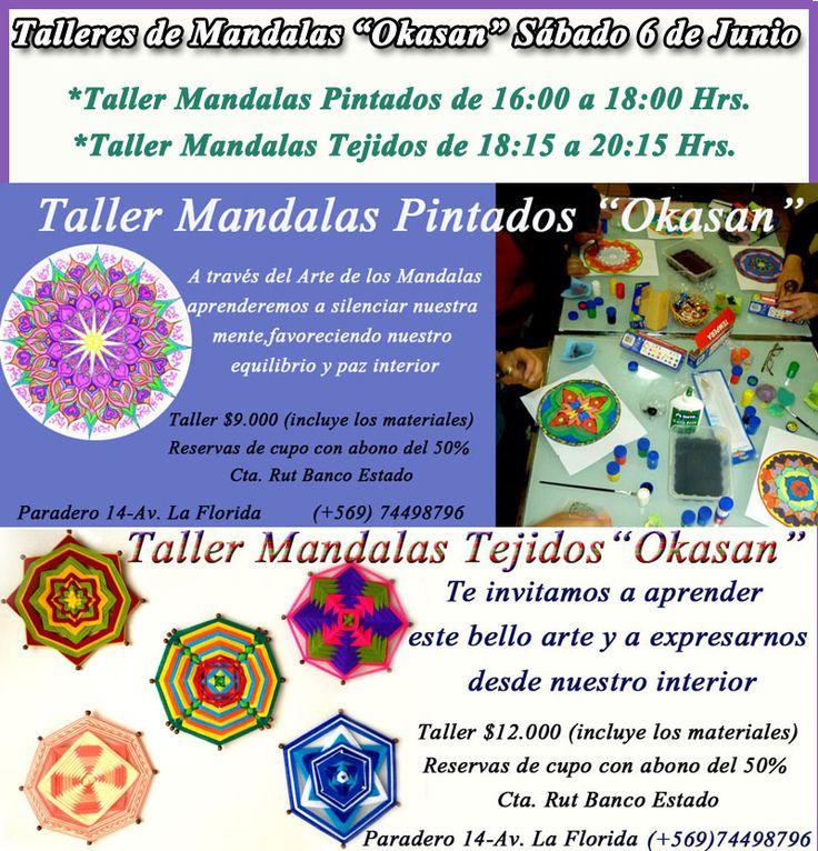 Amigas(os)! Les esperamos el Sábado 6 de Junio en Los Talleres de Mandalas. Para inscripciones y consultas puedes escribirnos al mail :okasan.contacto@gmail.com o visitarnos en nuestra Web  www.okasan.cl Saludos!