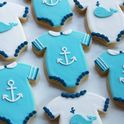 Anchor & whale onesie cookies. All of my friends seem to keep having girls, someone needs to have a boy ASAP so that these can happen!
