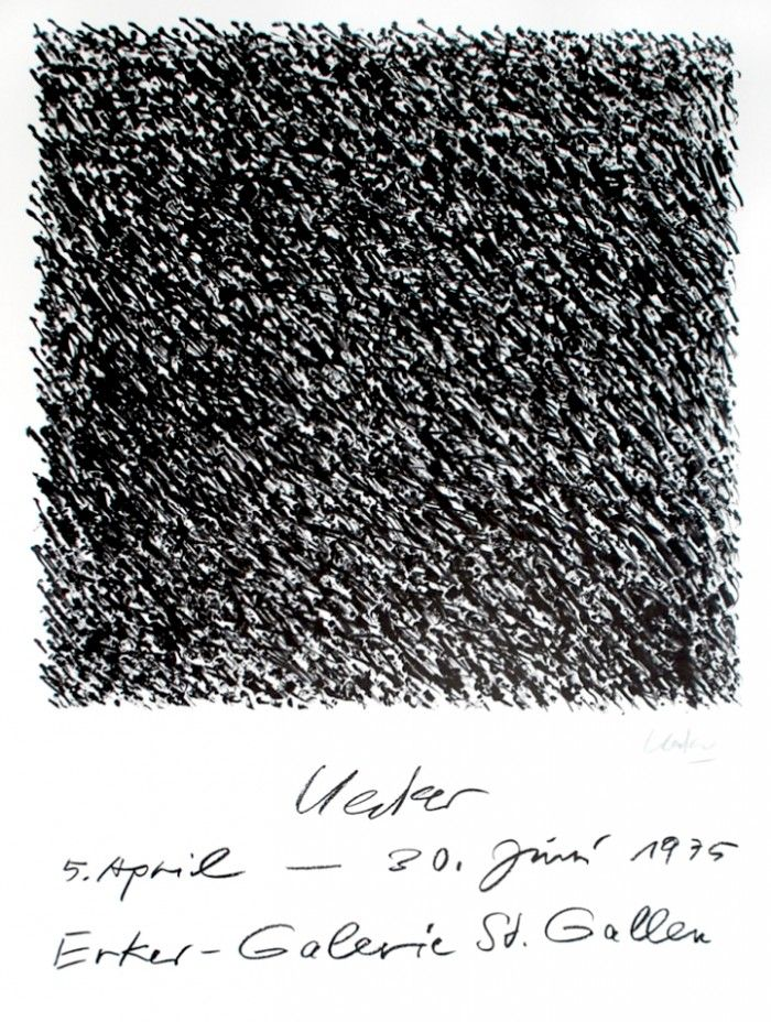 "Günther Uecker. ""Uecker"", Erker Galerie, 1975 // Original lithograph on thick paper. 1975. 79,5 x 60 cm. Good condition: Minor damages on corners (2 x bends). Printed by Erker-Press, St. Gallen. Hand signed by the artist"