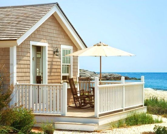The cozy Beach Cottages at the Castle Hill Inn in Newport, RI, have their own stretch of private beach right at the foot of the beautiful hotel and restaurant that's perched on a hill. New England style shingled beach cottage at Castle Hill. Via All About Newport RI. Mini kitchen and view of the beach. …