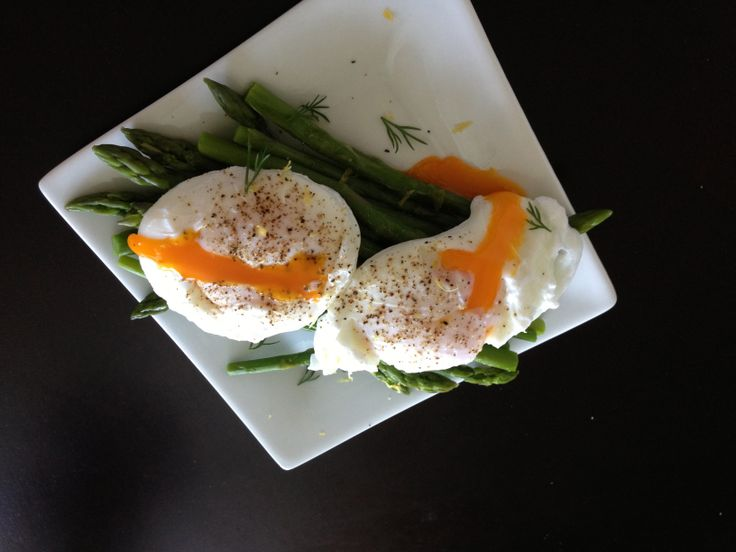 One of my favourite breakfasts.  Poached eggs on cooked asparagus.  I always add fresh herbs to give it that punch.