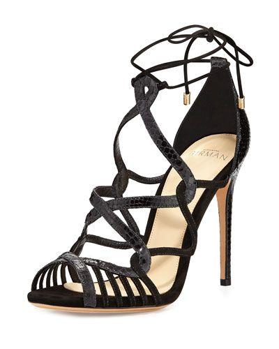 ALEXANDRE BIRMAN MARINA SUEDE & PYTHON LACE-UP SANDAL, BLACK. #alexandrebirman #shoes #flats