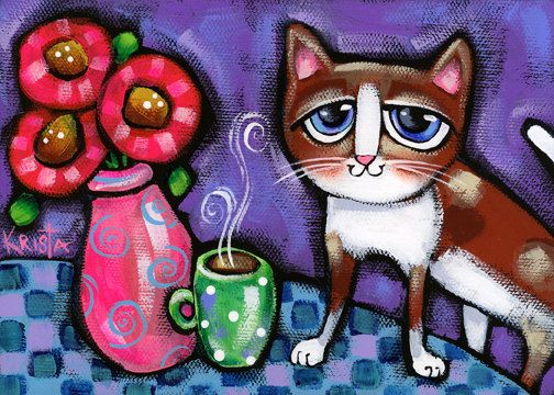 This cat folk art print is a reproduction of of one of my colorful, original paintings. The original artwork was done with acrylics on canvas. The image size of this print is 5 X 7. The image is centered and printed on 8.5 x 11 Ultra Premium Matte Presentation paper. The white border