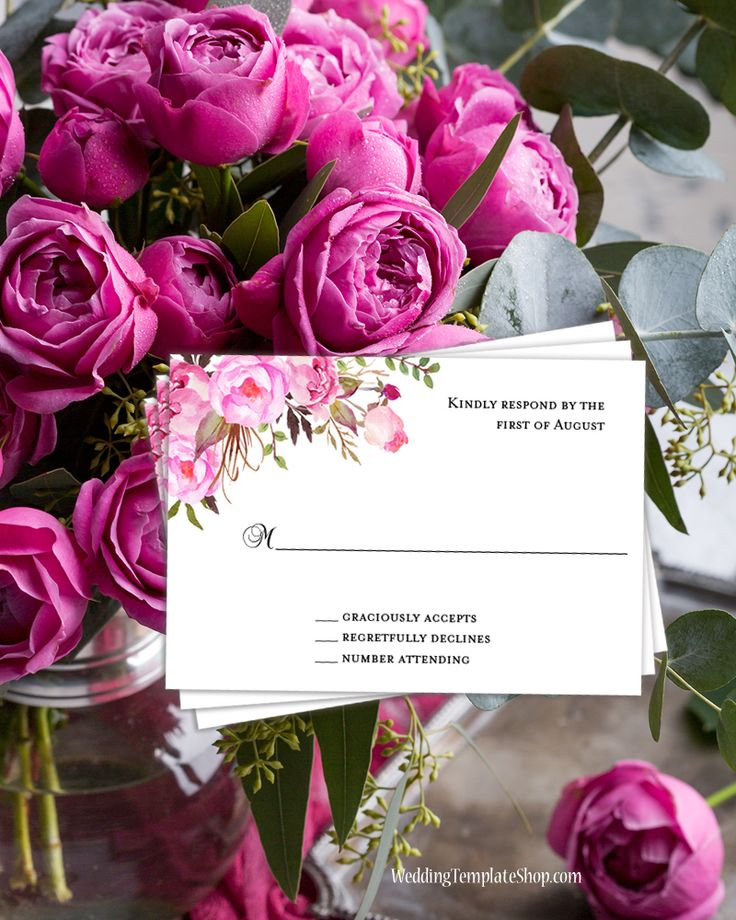 free templates for wedding response cards%0A Wedding Response Cards Pink  u     Blush Romantic Blossoms