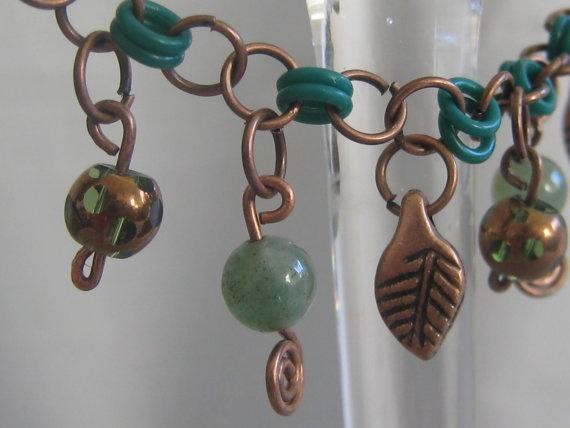 Autumn Copper Charm Bracelet by ZaZing on Etsy, $30.00