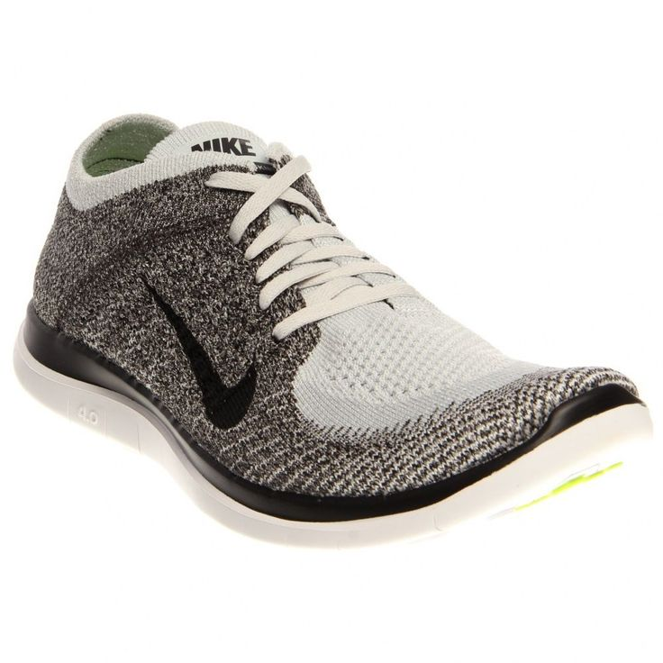 Nike Men's Free 4.0 Flyknit Running Shoes 631053 010 Platinum/Black Size 11