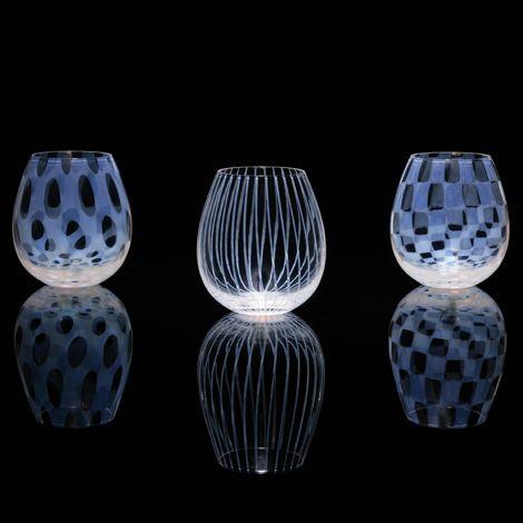 乳白色の柄がすごいきれいだった。乳白硝子(オパール)って言うガラスの種類だそうです。廣田硝子「Karai」シリーズ