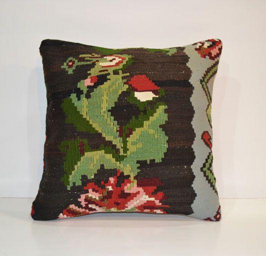 Kilim Pillow Cover Ethnic Pillow Decorative Throw Pillow 40x40 Wool Boho Hand Woven Pillow 16x16  Turkish Cushion Bohemian Home Decor on Etsy, $48.00