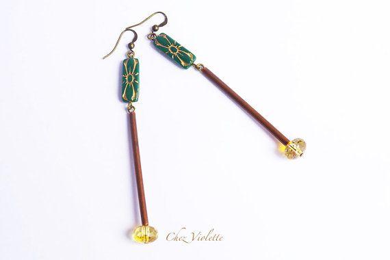 Long green earrings minimal jewelry glass bead by chezviolette