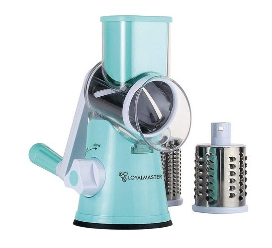 BEST ROTARY CHEESE GRATERS 7. Rotary Grater Slicer Shredder Grinder - Speed Round Mandoline for Vegetable, Cheese, Carrot, Potato, Zucchini, Nut - Tumbling Box with 3 Sharp Stainless Steel Drums - Strong Suction Base - LOYALMASTER