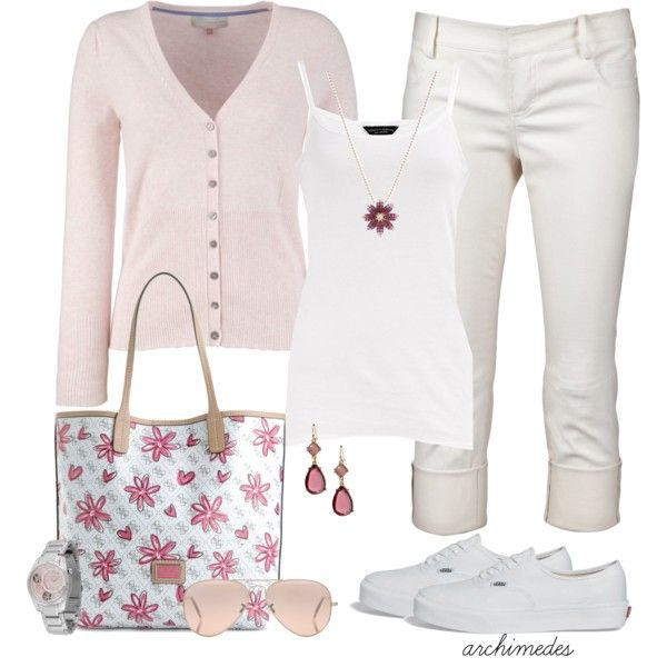 Shades of Pink - Polyvore . Summer / Spring Outfit. Light Pink Sweater. White Top, Capri & Shoes. Pink Flower Purse.