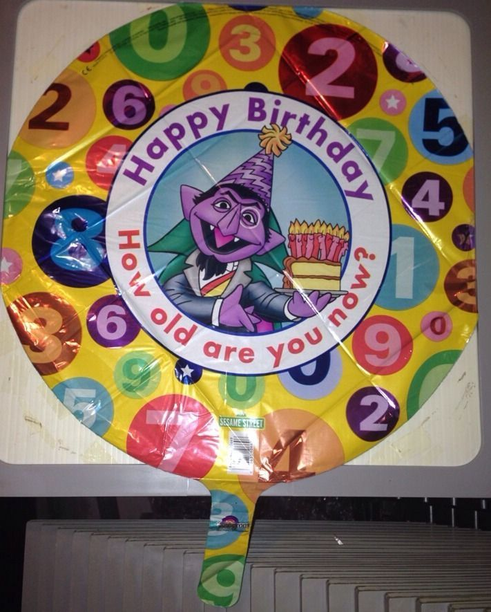 "18"" Round Sesame Street The Count Birthday Latex Helium Balloon By Anagram"