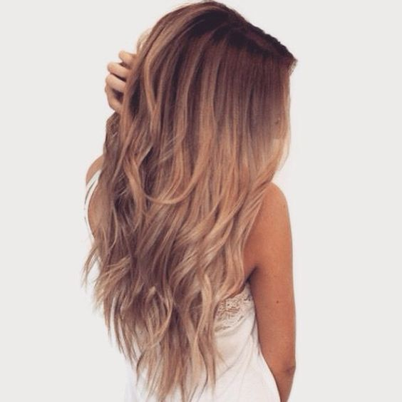 Light Caramel Long Layered Naturally Wavy Hair
