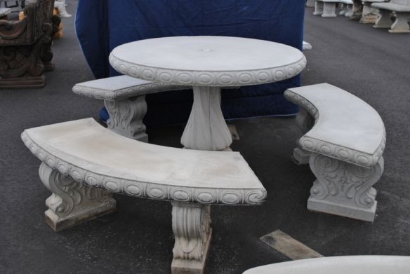Concrete Cement Tan Colored Round Patio Picnic Table With Three Benches Concrete Outdoor Furniture Plastic Patio Furniture Patio Table