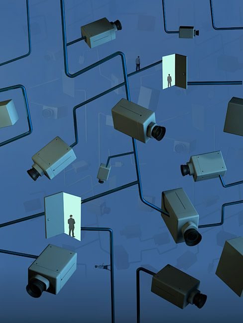Security Network Cameras - business conceptual illustration