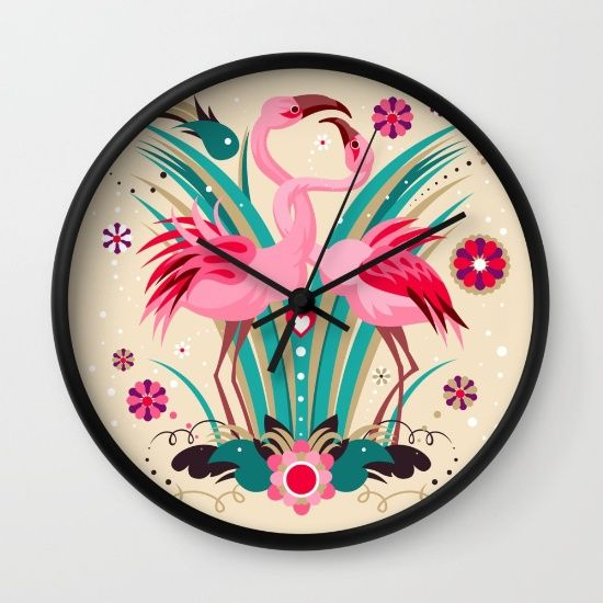Buy Flamingo in LOVE Wall Clock by Kimazo. Worldwide shipping available at Society6.com. Just one of millions of high quality products available.