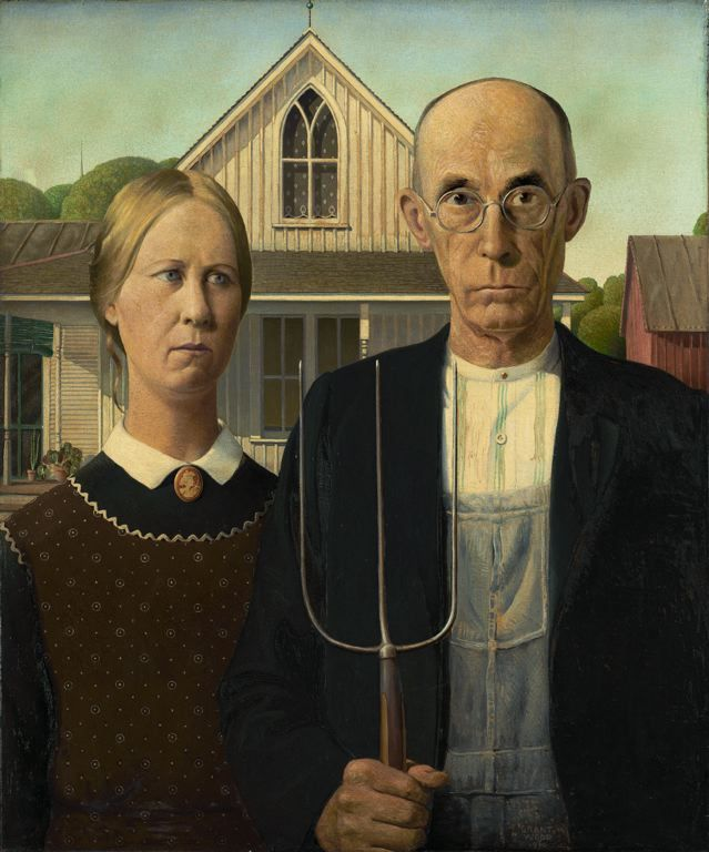 Grant Wood  American, 1891-1942    American Gothic, 1930    Oil on Beaver Board  78 x 65.3 cm (30 3/4 x 25 3/4 in.)  Signed and dated lower right on overalls: GRANT / WOOD / 1930  Friends of American Art Collection, 1930.934  Chicago Art Institute