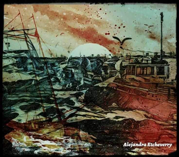 Título: Amanecer en el puerto - Arte Digital - San Luis, Argentina - Autora: Alejandra Etcheverry