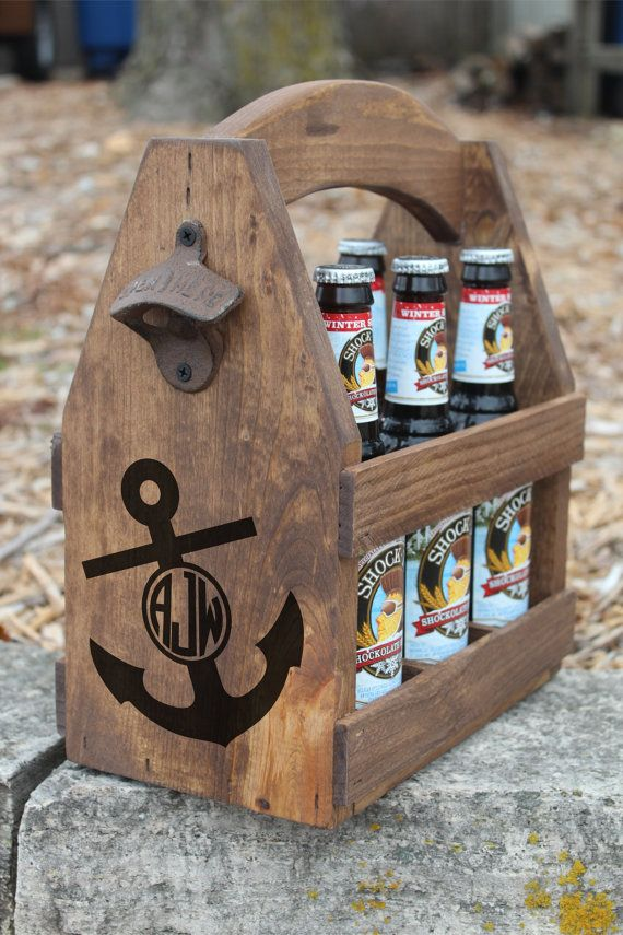 NAUTICAL MONOGRAM - Rustic Wood Beer Tote - Beer Carrier - Beer Caddy - Bachelor - Brewery - Personalized - Bottle Opener - Wood - Anchor