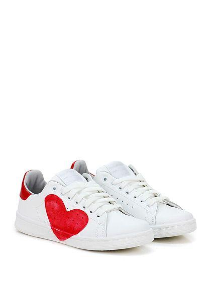 Stella Rittwagen - Sneakers - Donna - Sneaker in pelle con suola in gomma, tacco 25, platform 15 con battuta 10. - BIANCO\ROSSO - € 119.00