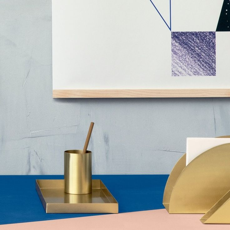 Ferm LIVING Brass office tray. Breathe new life into your office with this wonderful brass tray. It is made of solid brass with mat polish. Sophisticetd tray to keep your desk area stylishly tidy or great in the bathroom or ressing table, whereever you need to keep a few little things eatly together. Fermm LIVING is contemporary stylish Danish design for everyday living.