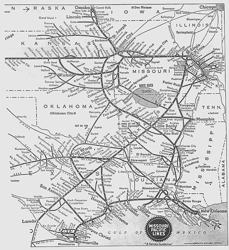 missouri pacific railroad map map of the white river division click map to download