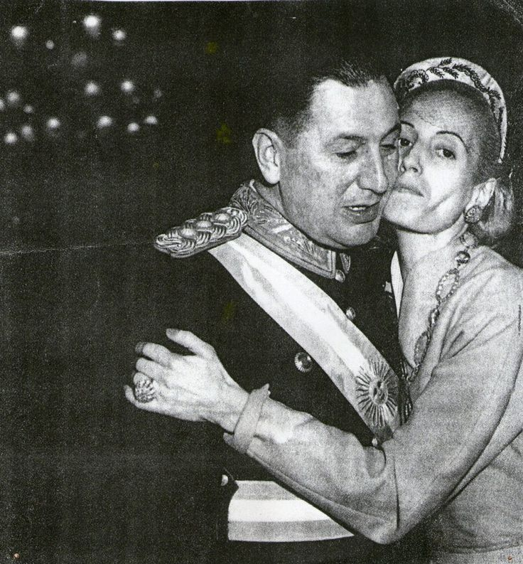 Eva congratulates Colonel Perón after his swearing in as President Argentina for a second term, 1952.