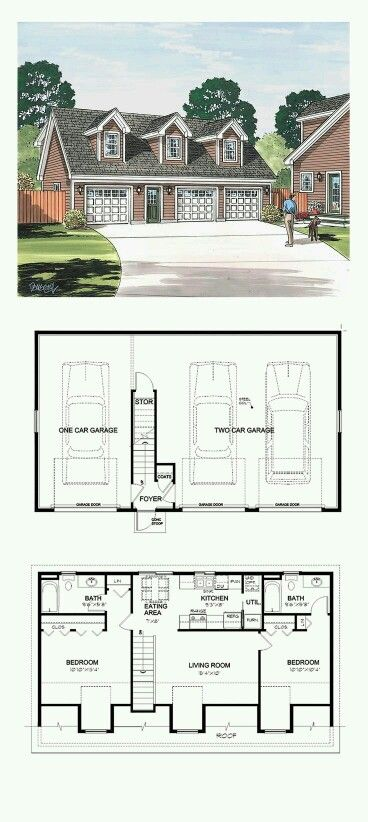 Make Garage Bay An Office/gym/craft Room And Laundry Room Garage Apartment  Plan 30032