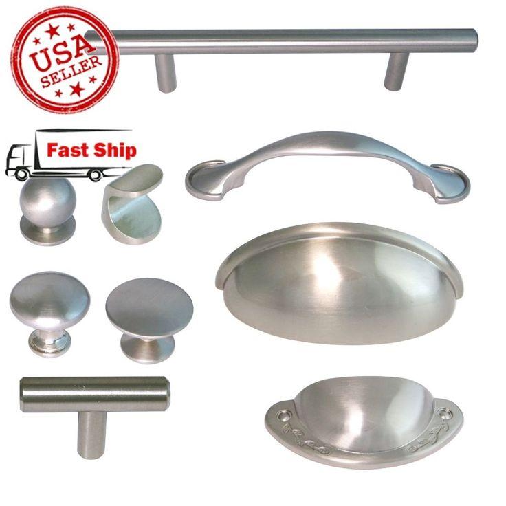 Brushed Satin Nickel Kitchen Hardware Cabinet Drawer Handles Cup Pulls Knobs in Handles, Pulls | eBay