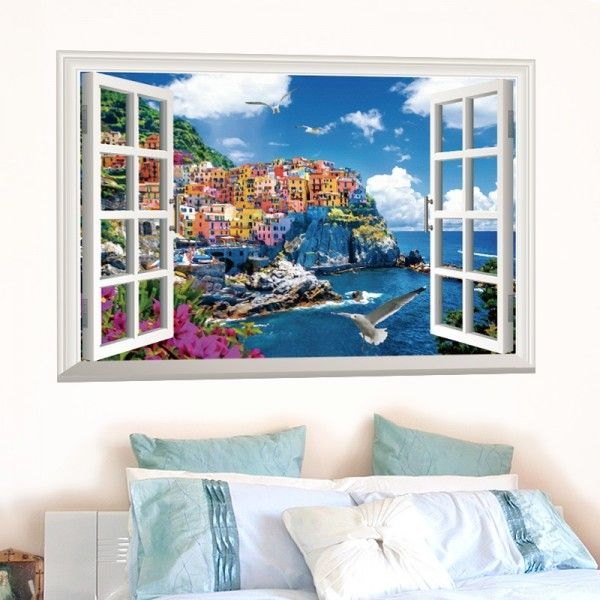 This item shows the beautiful mediterranean scenery. All items come in sections and can be positioned as you wish.  Material: PVC/Vinyl  Product size: 60cm(h) * 90cm(w)  Display size: 58cm(h) * 87cm(w)  Net weight: About 150g  Color: As the display pictures