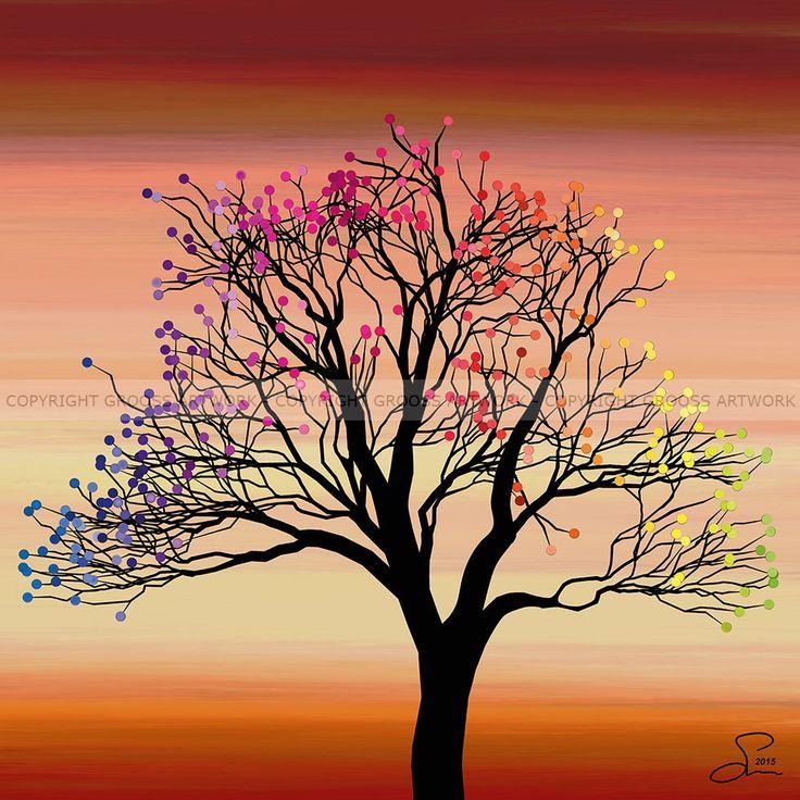 Small tree ''Three'' - 30 X 30 cm - Grafisk kunst på lærred af Søren Grooss