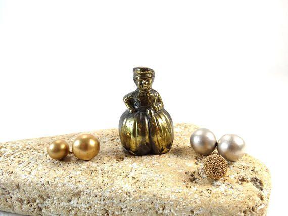 Miniature Brass Lady Bell  Woman Bell  Brass Bell  Lady