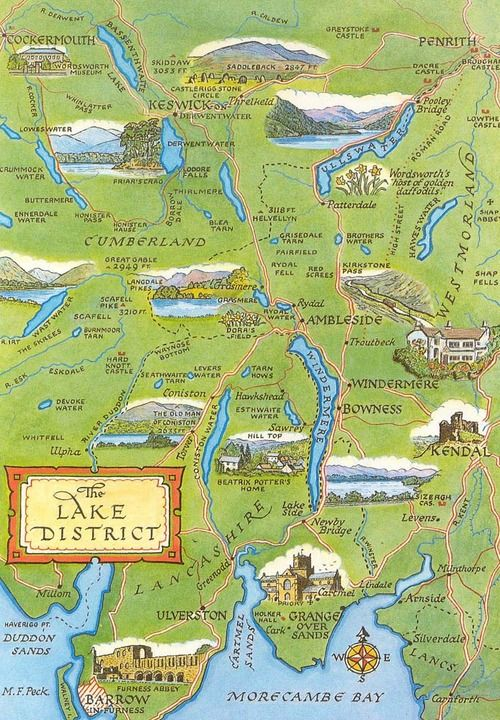 MAP OF THE LAKE DISTRICT .. HOME OF BEATRIX POTTER...♔..                                                                                                                                                      More