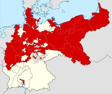 Reino da Prússia (vermelho) no Império Alemão (branco +vermelho) de 1701 a 1918