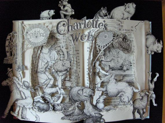 Charlotte's Web book sculpture by Kelly Campbell