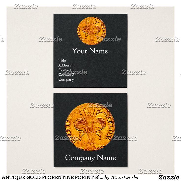 ANTIQUE GOLD FLORENTINE FORINT Black Paper Square Business Card #numismatics #coin #fiorino #lilly #fleurdelise