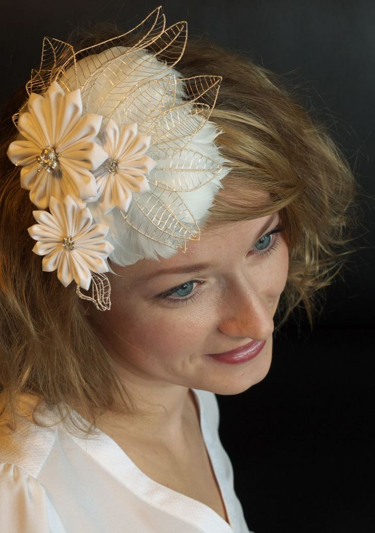Bridal Fascinator Brautfascinator Made Of Silver Wire Feathers Cotton An A Lot Of Love 3 Fascinator Brautaccessoires Braut