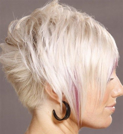 Light Blonde Short Hair Pink Highlights Asymmetrical