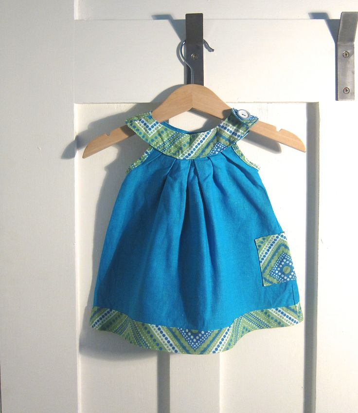 Downsized 'Black bird tunic' - just reduced the pattern in size to make it 0-3 mth size for my daughter.  Like the blues and greens....and the pattern is free!