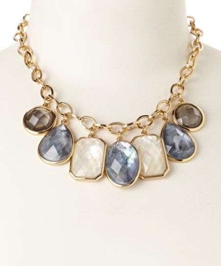 Gold Mother-of-Pearl Bergman Bib Necklace