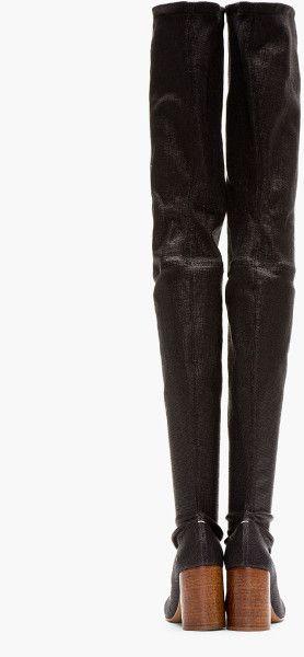 MAISON MARTIN MARGIELA Black Stretch Thigh High Boots - Lyst