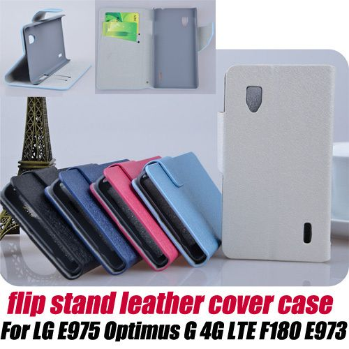 fashion Flip Leather skin protective Case stand for LG Optimus G 4G E975 LS970 E973 F180+screen protector ,free shipping